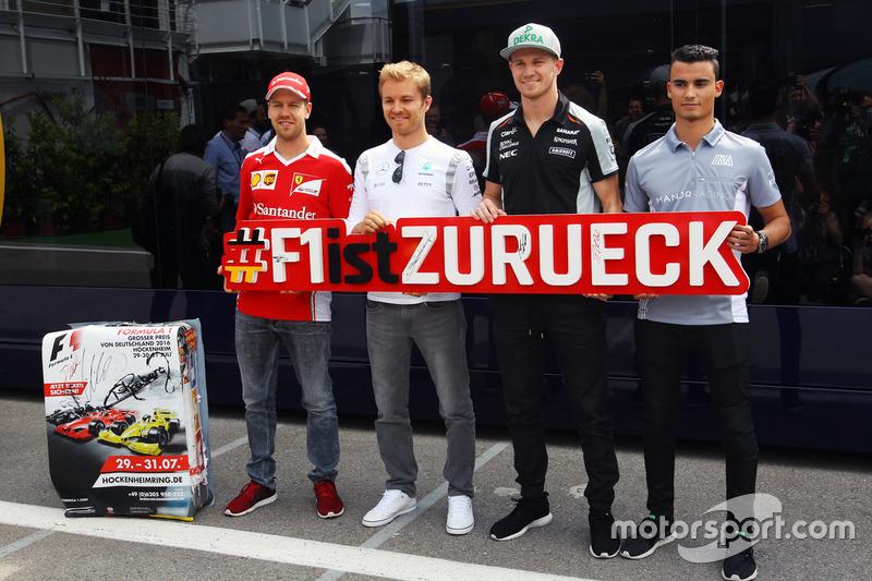 Sebastian Vettel, Ferrari; Nico Rosberg, Mercedes AMG F1; Nico Hulkenberg, Sahara Force India F1 e P