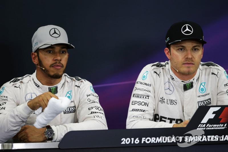 Pressekonferenz: Lewis Hamilton, Mercedes AMG F1, und Nico Rosberg, Mercedes AMG F1