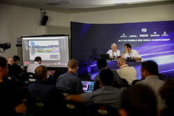 Charlie Whiting, FIA Delegate and Matteo Bonciani, FIA Media Delegate in the Press Conference discussing the Kimi Raikkonen, Ferrari and Max Verstappen, Red Bull Racing incident at United States Grand Prix