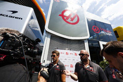 Romain Grosjean, Haas F1 Team, talks to the media