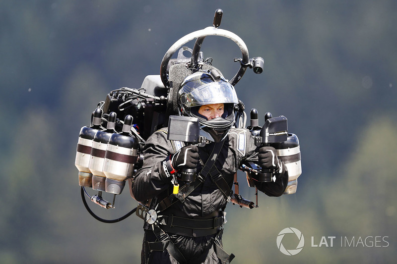 A man uses a jet pack