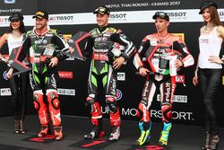 Polesitter Jonathan Rea, Kawasaki Racing, second place Tom Sykes, Kawasaki, third place Marco Melandri, Ducati Team