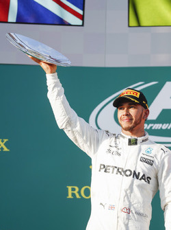 Lewis Hamilton, Mercedes AMG, 2nd Position, with his trophy