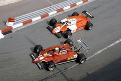 Didier Pironi, Ferrari 126C2 leads Andrea de Cesaris, Alfa Romeo 182