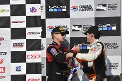 Podium: third place Patrick Long, Wright Motorsports, second place Alvaro Parente, K-Pax Racing