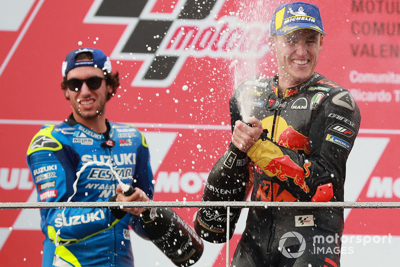 Podio: il vincitore della gara Andrea Dovizioso, Ducati Team, il secondo classificato Alex Rins, Team Suzuki MotoGP, il terzo classificato Pol Espargaro, Red Bull KTM Factory Racing