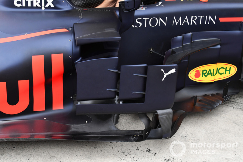 Detalle de los bargeboard del Red Bull Racing RB14