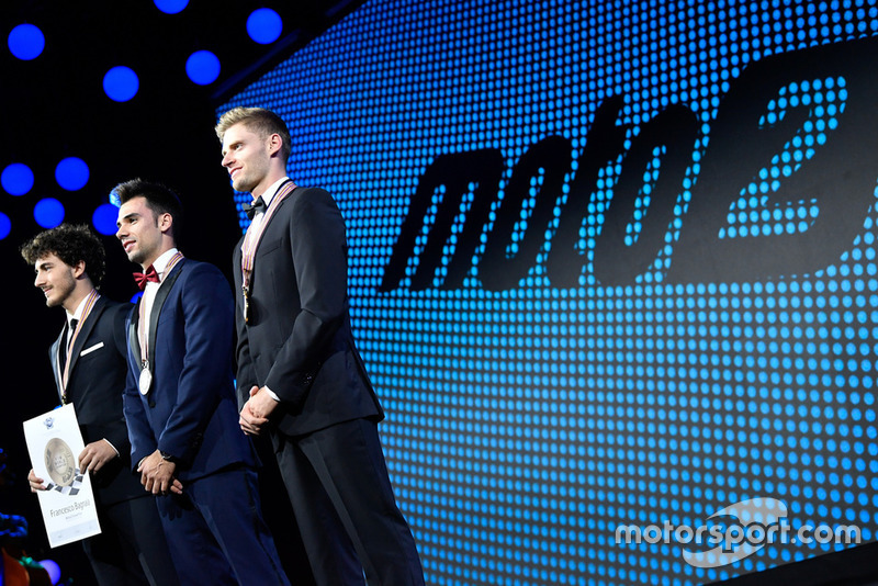 Moto 2 - Top-3 - (L to R) - Francesco Bagnaia - SKY Racing Team VR46, Miguel Oliveira - Red Bull KTM Ajo, Brad Binder - Red Bull KTM Ajo