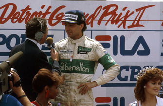 Michele Alboreto, Tyrrell Ford, 1st position, on the podium
