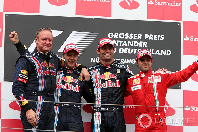 2009: 1. Mark Webber, 2. Sebastian Vettel, 3. Felipe Massa