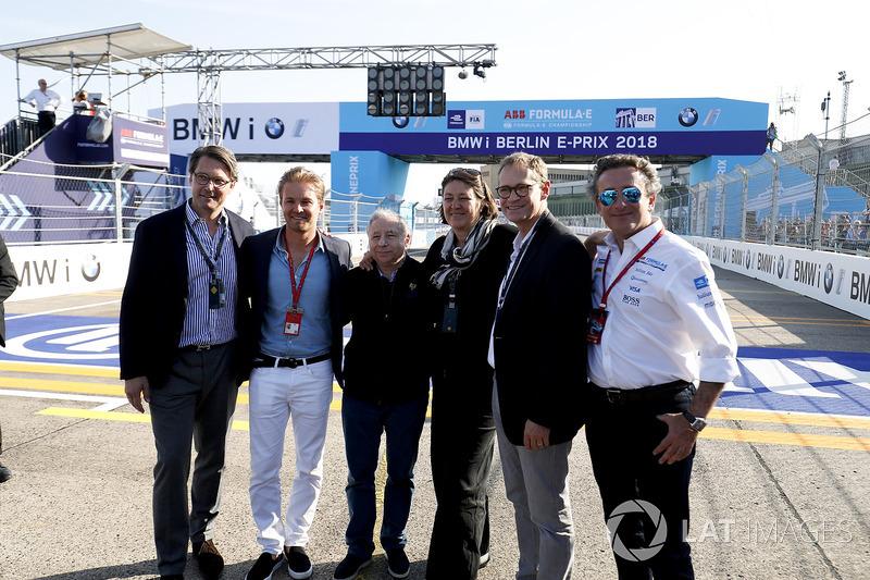 Alejandro Agag, CEO, Formula E, with Jean Todt, FIA President, Nico Rosberg, Formula 1 World champion, Formula E investor