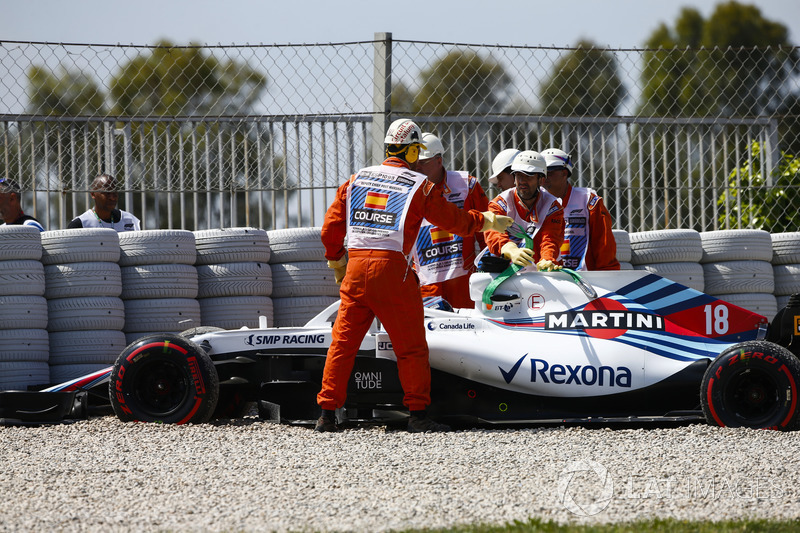 Lance Stroll, Williams FW41, tras su accidente en FP1