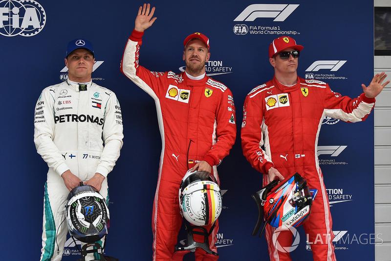Sebastian Vettel, Ferrari, Kimi Raikkonen, Ferrari, Valtteri Bottas, Mercedes AMG F1