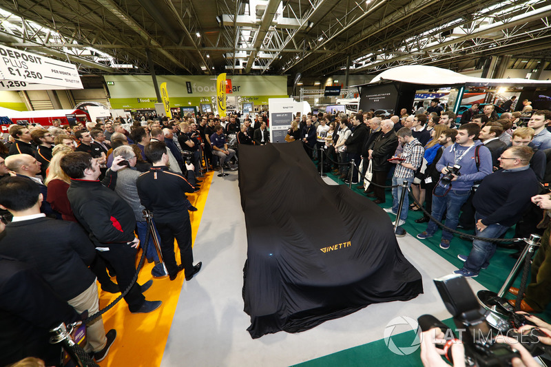 The Ginetta stand, and LMP1 car under wraps