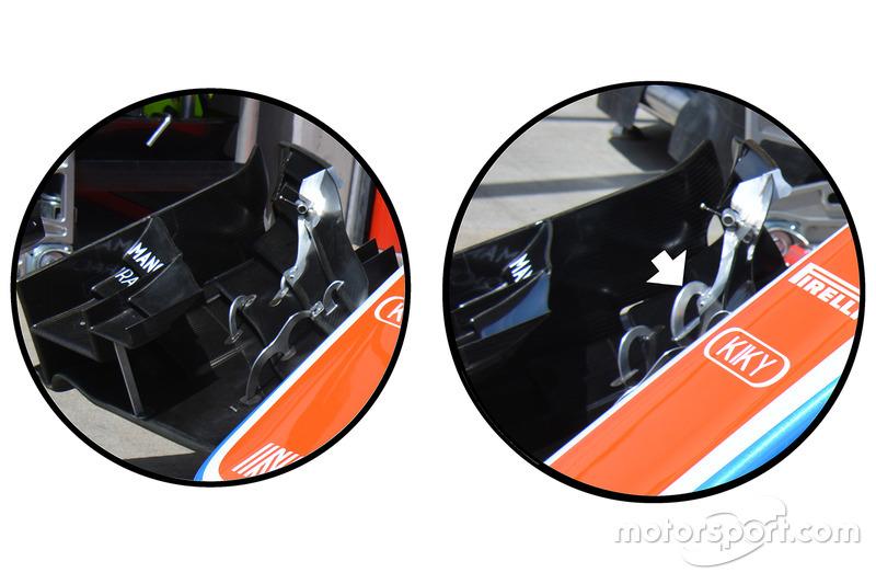 Manor MRT05: Vergleich Frontflügel