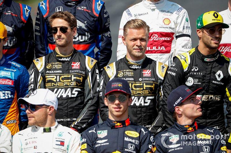 Romain Grosjean, Haas F1, Kevin Magnussen, Haas F1, Daniel Ricciardo, Renault F1 Team, Valtteri Bottas, Mercedes AMG F1, Pierre Gasly, Red Bull Racing, y Max Verstappen, Red Bull Racing