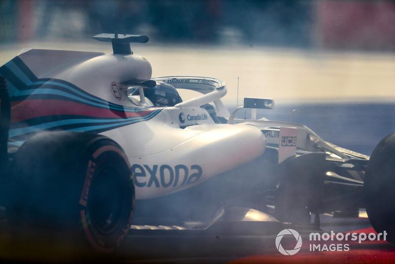 Lance Stroll, Williams FW41, spins his car