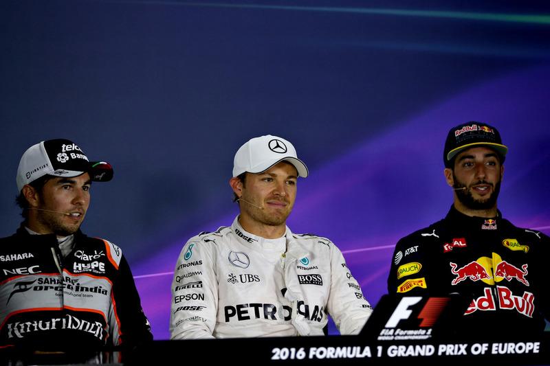 Nico Rosberg, Mercedes GP, Sergio Pérez, Force India y Daniel Ricciardo, Red Bull Racing, 2016 en Ba