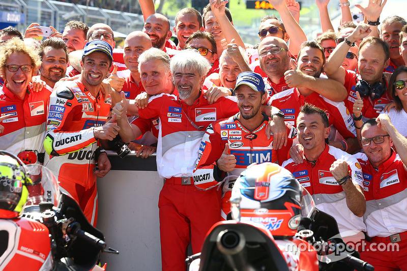 Winner Andrea Iannone, Ducati Team, second place Andrea Dovizioso, Ducati Team and Gigi Dall'Igna, Ducati Team General Manager