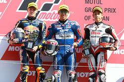 Podium: race winner Enea Bastianini, Gresini Racing Team Moto3, second place Brad Binder, Red Bull KTM Ajo, third place Hiroki Ono, Honda Team Asia