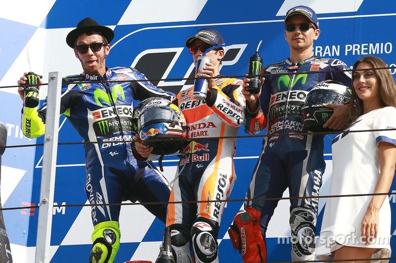 MotoGP-Podium Misano: Sieger Dani Pedrosa, 2. Valentino Rossi, 3. Jorge Lorenzo