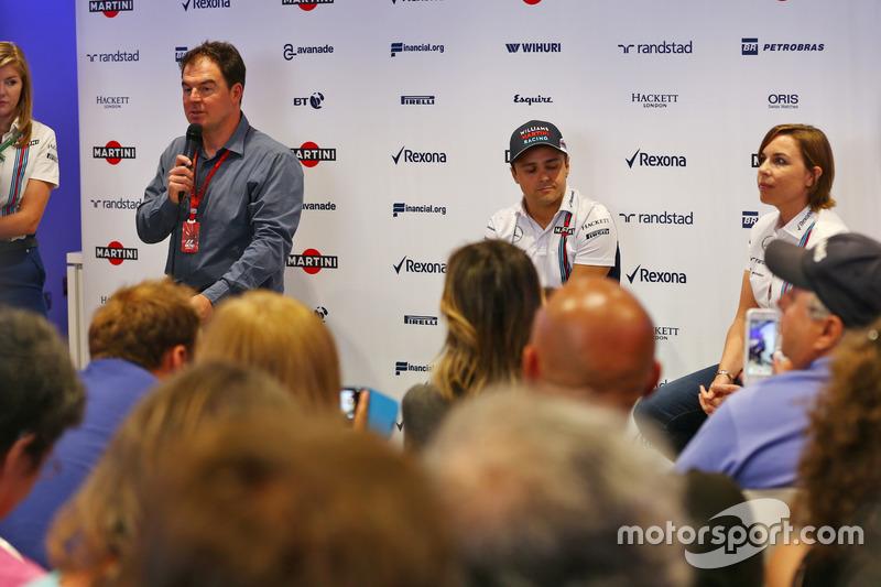 (L to R): James Allen, with Felipe Massa, Williams and Claire Williams, Williams Deputy Team Princip