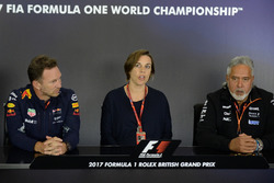 Christian Horner, Red Bull Racing Team Principal, Claire Williams, Williams Deputy Team Principal and Dr. Vijay Mallya, Sahara Force India Formula One Team Owner in the Press Conference
