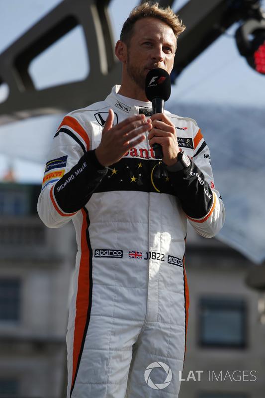 Jenson Button, McLaren, on stage