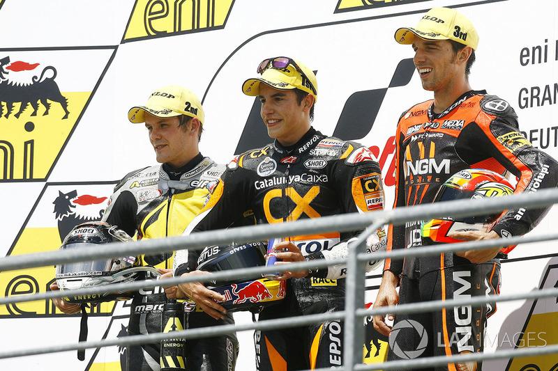 Le podium du GP d'Allemagne 2012 de Moto2 : Marc Márquez, Stefan Bradl, Alex de Angelis