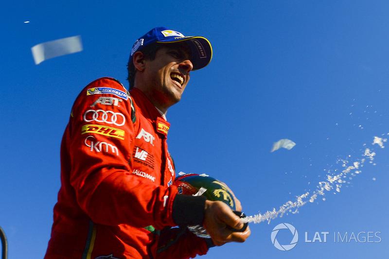 Lucas di Grassi, ABT Schaeffler Audi Sport, celebrates on the podium