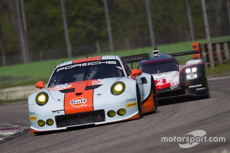#86 Gulf Racing Porsche 911 RSR: Michael Wainwright, Ben Barker, Nick Foster, #2 Porsche Team Porsche 919 Hybrid: Timo Bernhard, Earl Bamber, Brendon Hartley