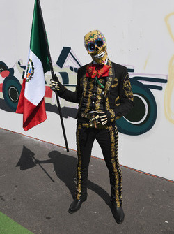 Day of the Dead character with Mexican flag