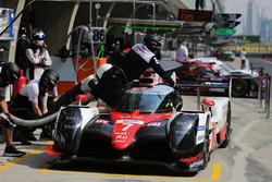 #7 Toyota Gazoo Racing Toyota TS050-Hybrid: Mike Conway, Kamui Kobayashi, Jose Maria Lopez in the pits