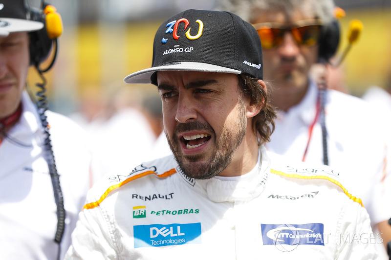 Fernando Alonso, McLaren, on the grid