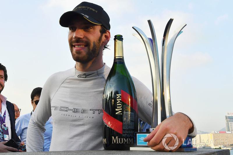 Second place Jean-Eric Vergne, Techeetah, celebrates on the podium