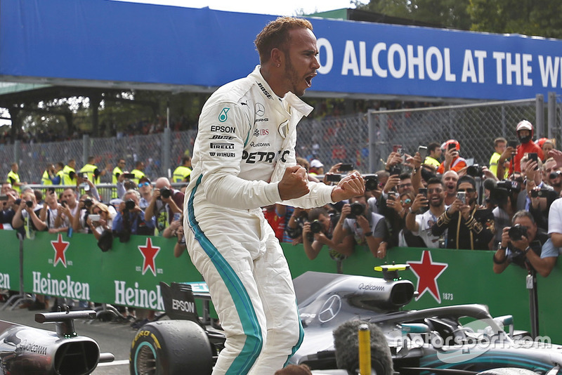 Lewis Hamilton, Mercedes AMG F1 celebrates in parc ferme at the at Formula One World Championship, Rd14, Italian Grand Prix, Race, Monza, Italy, Sunday 2 September 2018.