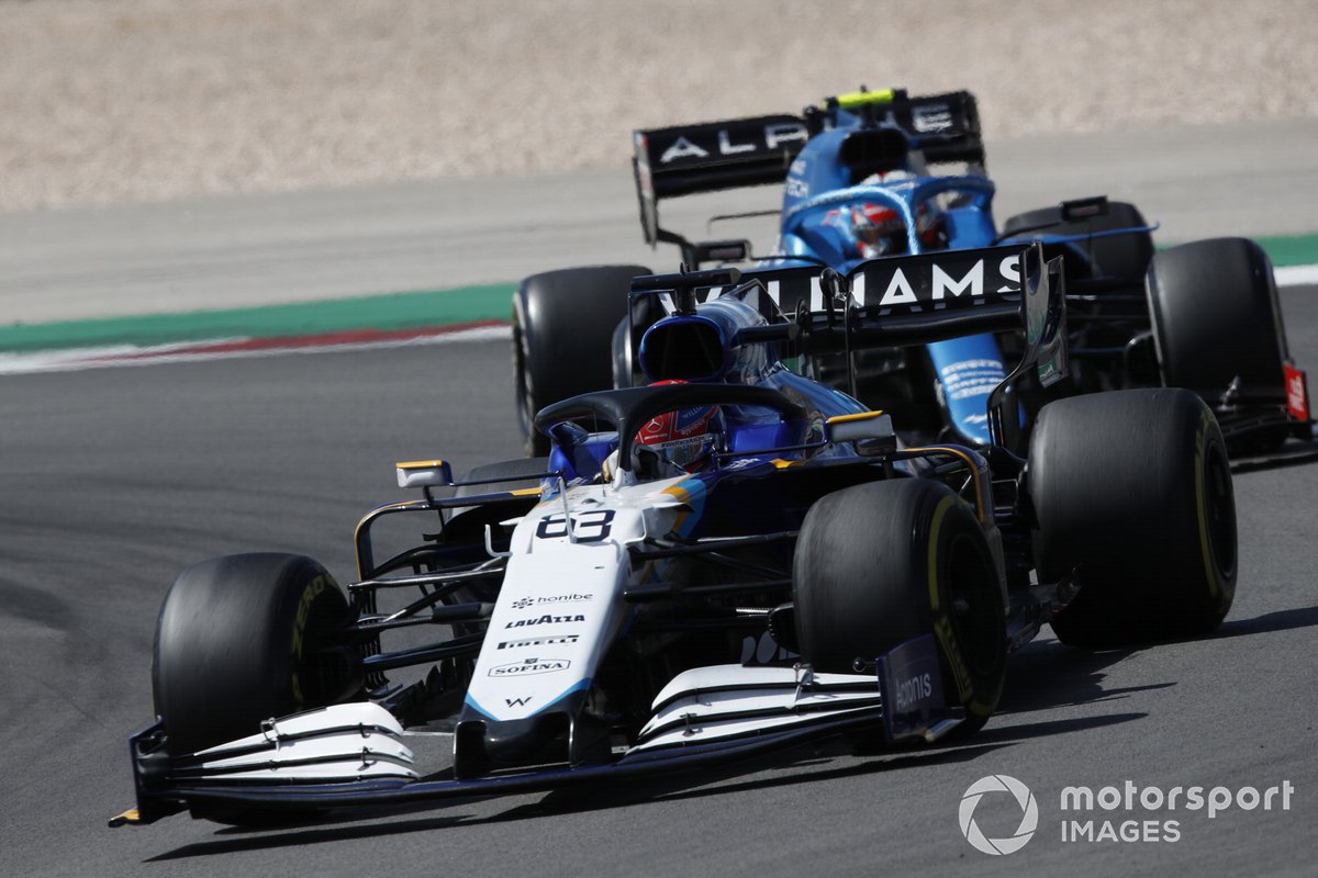 George Russell, Williams FW43B, Esteban Ocon, Alpine A521