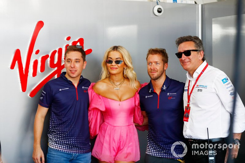 La cantante Rita Ora, Robin Frijns, Envision Virgin Racing, Sam Bird, Envision Virgin Racing, Audi e-tron FE05, Alejandro Agag, CEO, Formula E