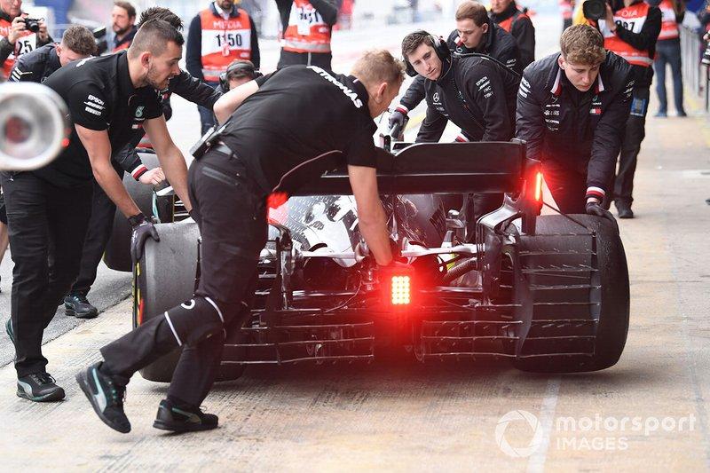 Valtteri Bottas, Mercedes-AMG F1 W10 con sensori aerodinamici