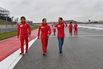 Sebastian Vettel, Ferrari walks the track