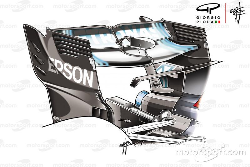 Alerón trasero del Mercedes F1 AMG W09 en Azerbaiyán