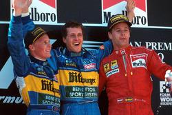 Podium: winner Michael Schumacher, Benetton, second place Johnny Herbert, Benetton, third place Gerh