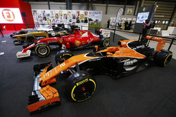 A McLaren, Ferrari, Renault and Williams on the F1 Racing Stand
