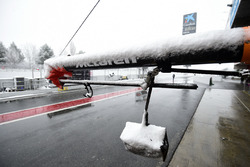 McLaren pit box as snow stops testing on day three