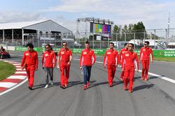 Sebastian Vettel, Ferrari and Daniil Kvyat, Ferrari walk the track