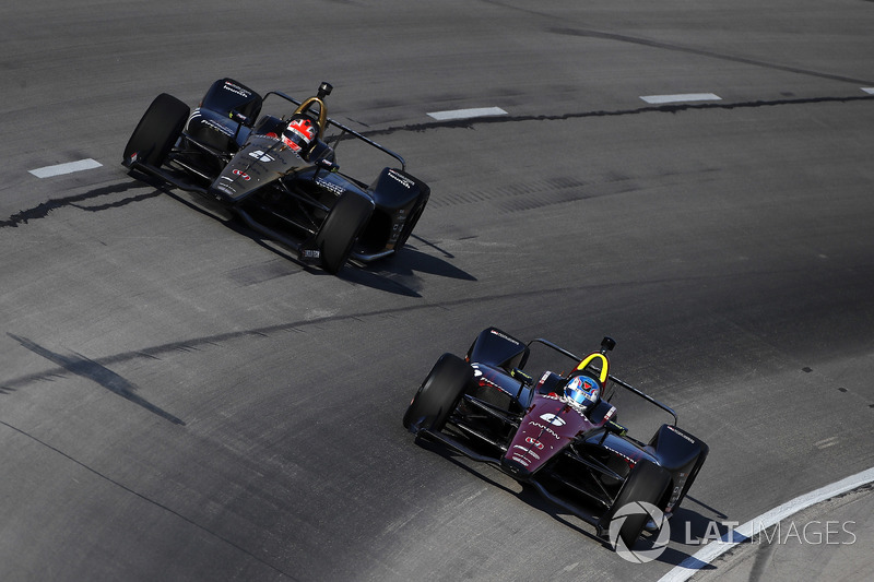 Schmidt Peterson Motorsports teammates James Hinchcliffe and Robert Wickens lap Texas Motor Speedway together, June 2018.