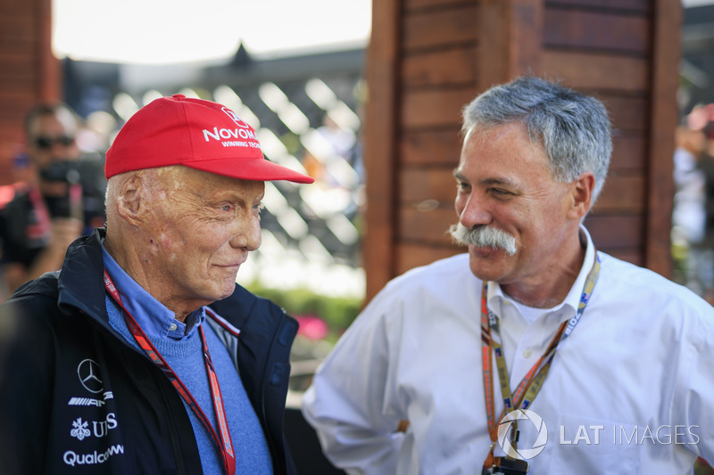Niki Lauda, Mercedes AMG F1 Non-Executive Chairman and Chase Carey, Chief Executive Officer and Exec