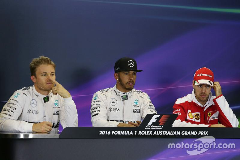 1. Lewis Hamilton, Mercedes AMG F1 Team; 2. Nico Rosberg, Mercedes AMG F1 Team; 3. Sebastian Vettel,