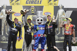 Funny Car winner John Force, Top Fuel winner Antron Brown, Pro Stock winner Jason Line, Pro Stock Bike winner Chip Ellis