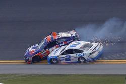 Denny Hamlin, Joe Gibbs Racing Toyota, Brad Keselowski, Team Penske Ford collide